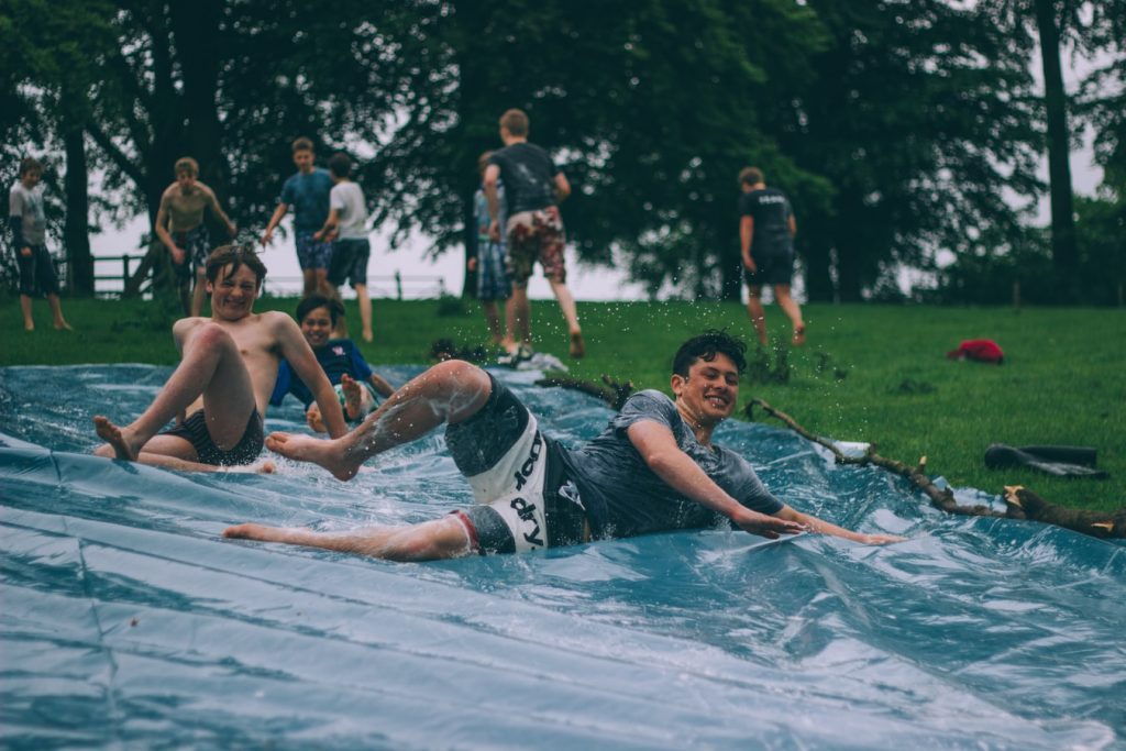 how to protect grass from water slide