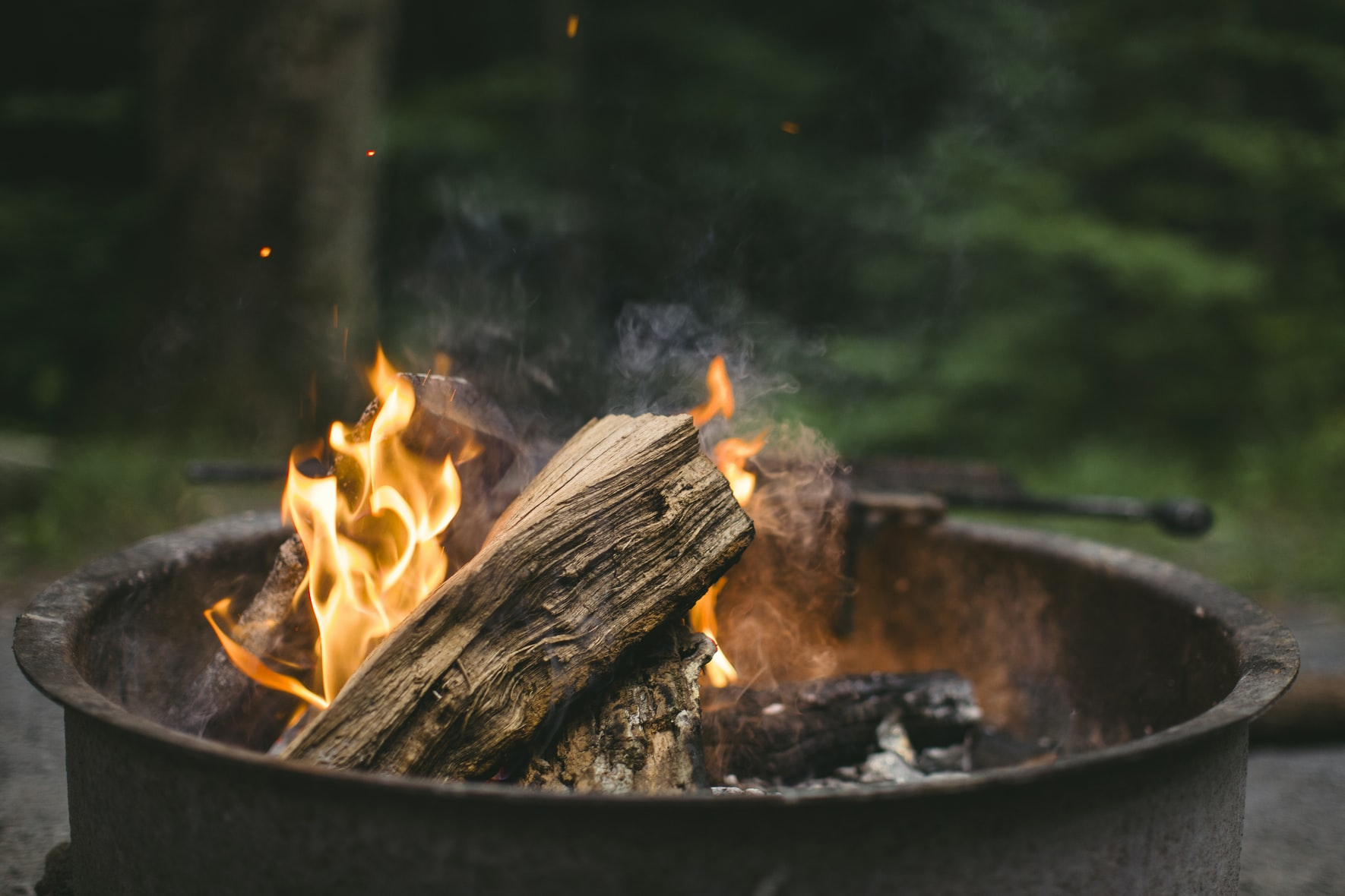 wood fire pit overhead clearance